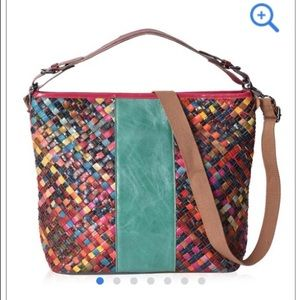 Just in!🆕🎄🎁Multicolor & Green Leather Tote